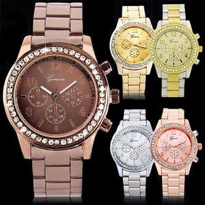 Crystal Stainless Steel Watch
