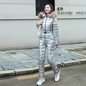 Fur Hooded Cotton Padded Jumpsuits