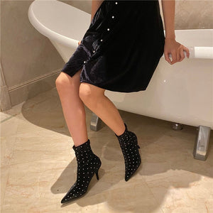Elegant Rivet High Heels Boots