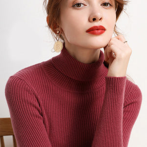 Turtleneck Knitted Pullovers Sweater Tops