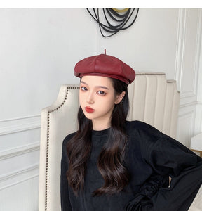 PU Leather Beret Hats