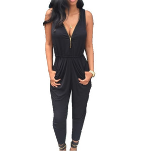 Long V Neck Party Jumpsuit