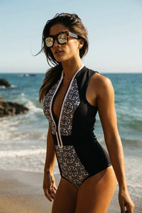 Print Retro Front Zipper Swimsuits