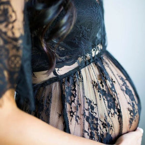 Lace See Through Maternity Dress
