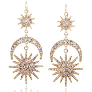Sun Moon Stars Drop Earrings