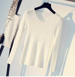 V Neck Knitted Pullovers