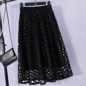 High waist circle lace skirt