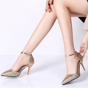 Fashion Buckle Crystal Bling Pumps High Heels