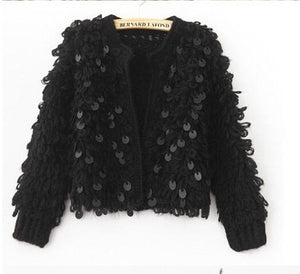 Sequins knitted cardigan sweater