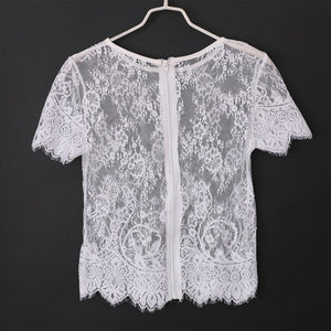 O Neck Solid Lace Crop Zipper T-shirts