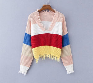 Multi Color Blocked Cropped Sweater
