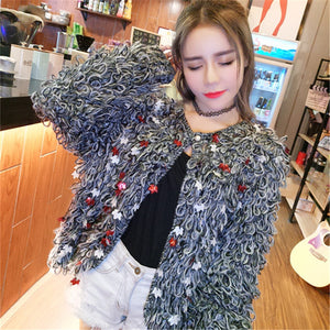 Leaf sequins circle knit sweater