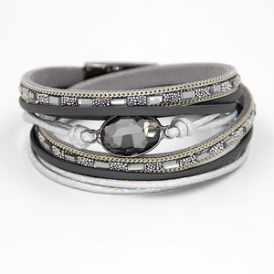 Multi-layer Winding Wrap Leather Crystal Bracelet