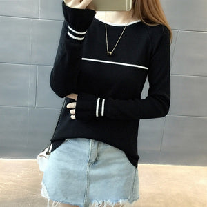 O-Neck Butterfly Striped Sweater
