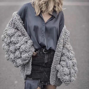 Hollow Wool Lantern Sleeved Jacket