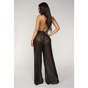 High Waist Mesh Wide Leg Pants