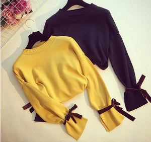 O Neck bow tie up Sweater