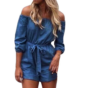 Solid Short Jeans Playsuits