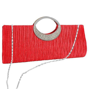 Satin Pleated Shoulder Bag