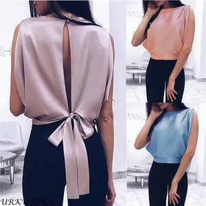 Sexy Bowknot  Backless Blouse