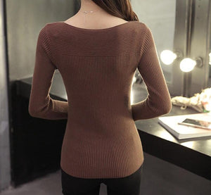 slash neck pullover