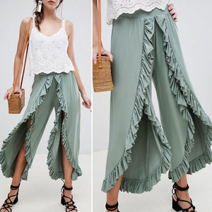 Sexy ruffles casual pants