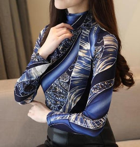 Fashion Print Lace Blouse