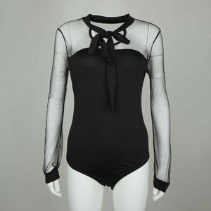 Long Sleeve Mesh Patch Bodysuit