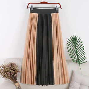 Double color pleated skirt