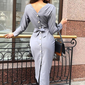 Long sleeve back button up dress