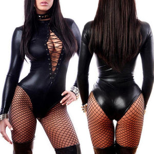 PU Leather Long Sleeve Bodysuits