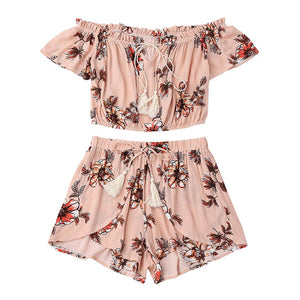 Off Shoulder Printed Two Piece Set