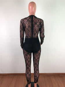 Sexy Bodycon Sheer Mesh Jumpsuit