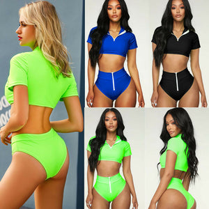 Fluorescence Short Sleeves Swimsuit