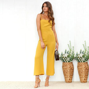 Elegant High Waisted Backless Jumpsuit
