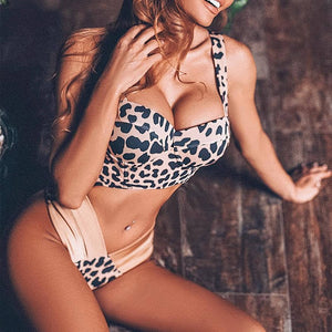 High cut leopard print bikini