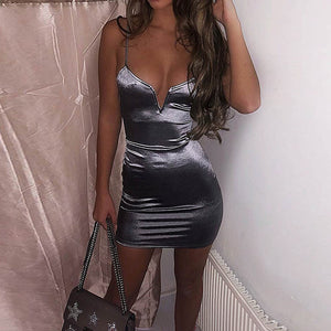 Sexy Strap Solid Mini Dress