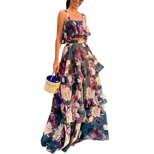 Floral Printed Chiffon 2Piece Set