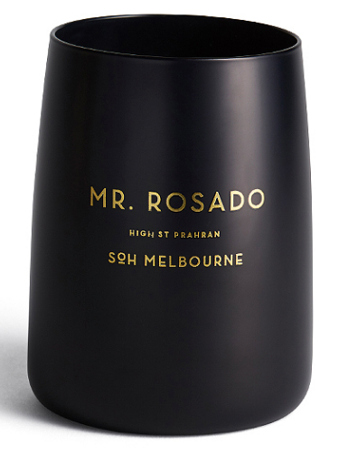 MR ROSADO MATTE BLACK CANDLE