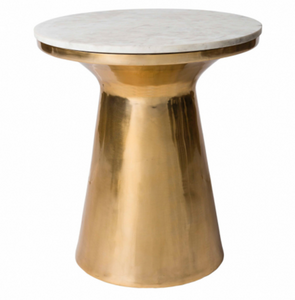 Dale Brass Side Table with Marble