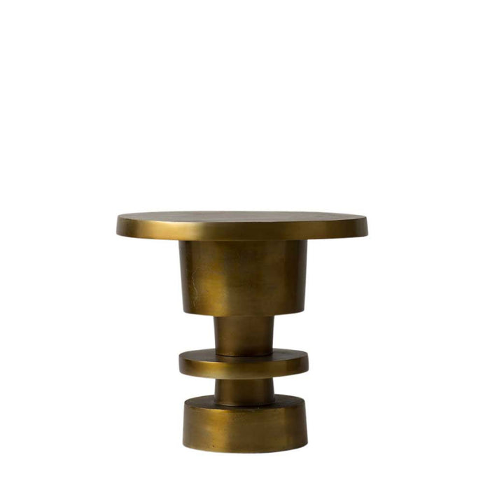 Metropolis Alum Side Table Vintage Brass