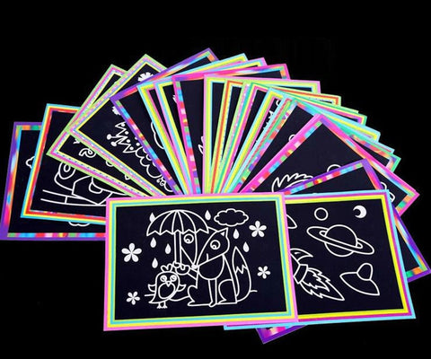 Image of 10 pcs 13x 9.8cm Scratch Art Paper Magic Painting Paper with Drawing Stick For Kids Toy Colorful Drawing Toys