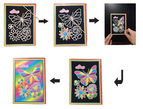 10 pcs 13x 9.8cm Scratch Art Paper Magic Painting Paper with Drawing Stick For Kids Toy Colorful Drawing Toys