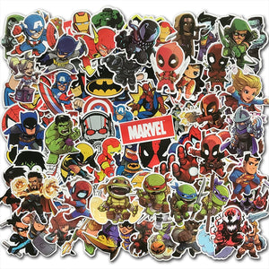 100Pcs/Lot Cartoon Cute Super Hero Stickers MARVEL Graffiti Decals Bomb Sticker Pack For Kids Gift Toy Skateboard Luggage Laptop
