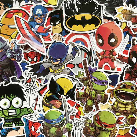 Image of 100Pcs/Lot Cartoon Cute Super Hero Stickers MARVEL Graffiti Decals Bomb Sticker Pack For Kids Gift Toy Skateboard Luggage Laptop