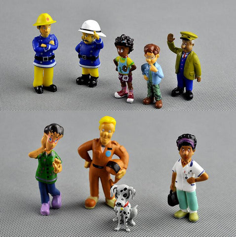 12Pcs/Set anime Fireman Sam action figure  figure PVC Figures doll toys 3 6cm Cute Cartoon  For Decoration or collection