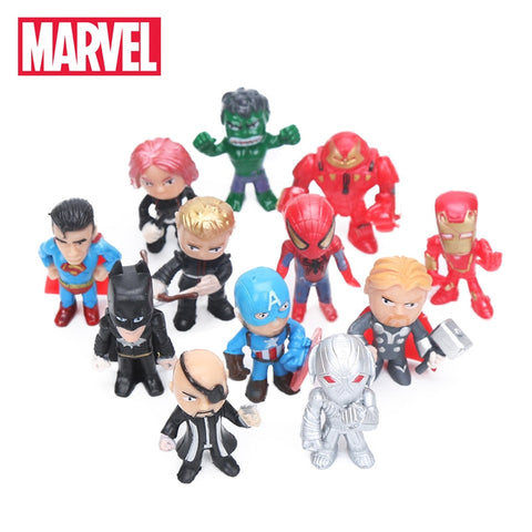 Image of 12pcs Q Version The Avengers Figure Set Marvel Toys 3.5cm Iron Man Thor Hulk Captain America Spiderman Ultron Model Doll Toy