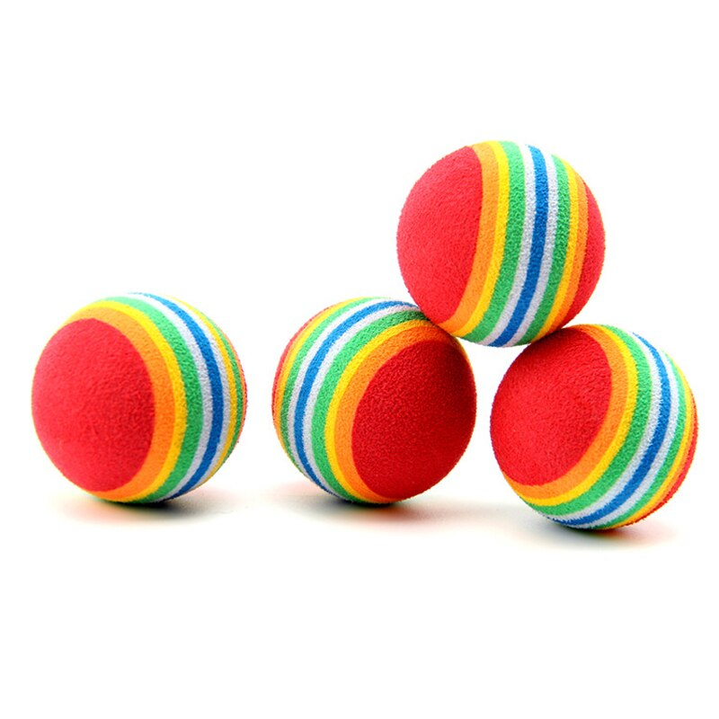 1Pcs Popular Puppy Dog Toys Ball For Dogs Pet Product Pet Ball Rainbow Color Chew Playing Funny Practice Small Dog Ball 3.5CM