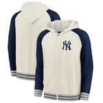 New York Yankees Fanatics Branded Full-Zip Hoodie - Cream/Navy