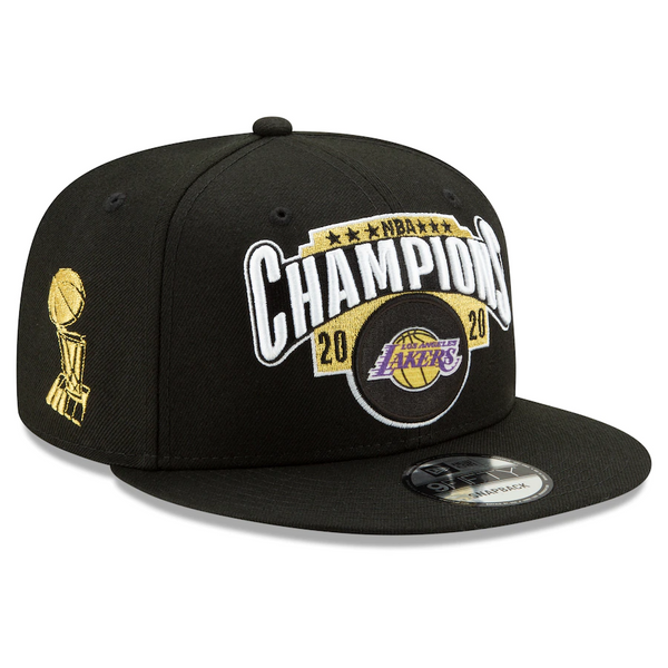 Los Angeles Lakers New Era 2020 NBA Finals Champions Locker Room 9FIFTY Snapback Adjustable Hat - Black